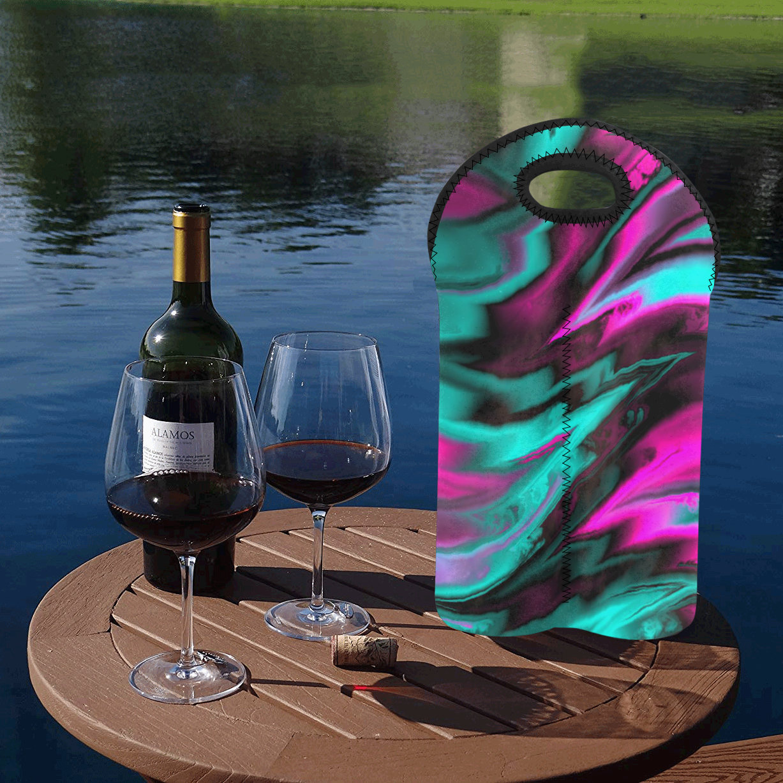 fractal waves A by JamColors 2-Bottle Neoprene Wine Bag