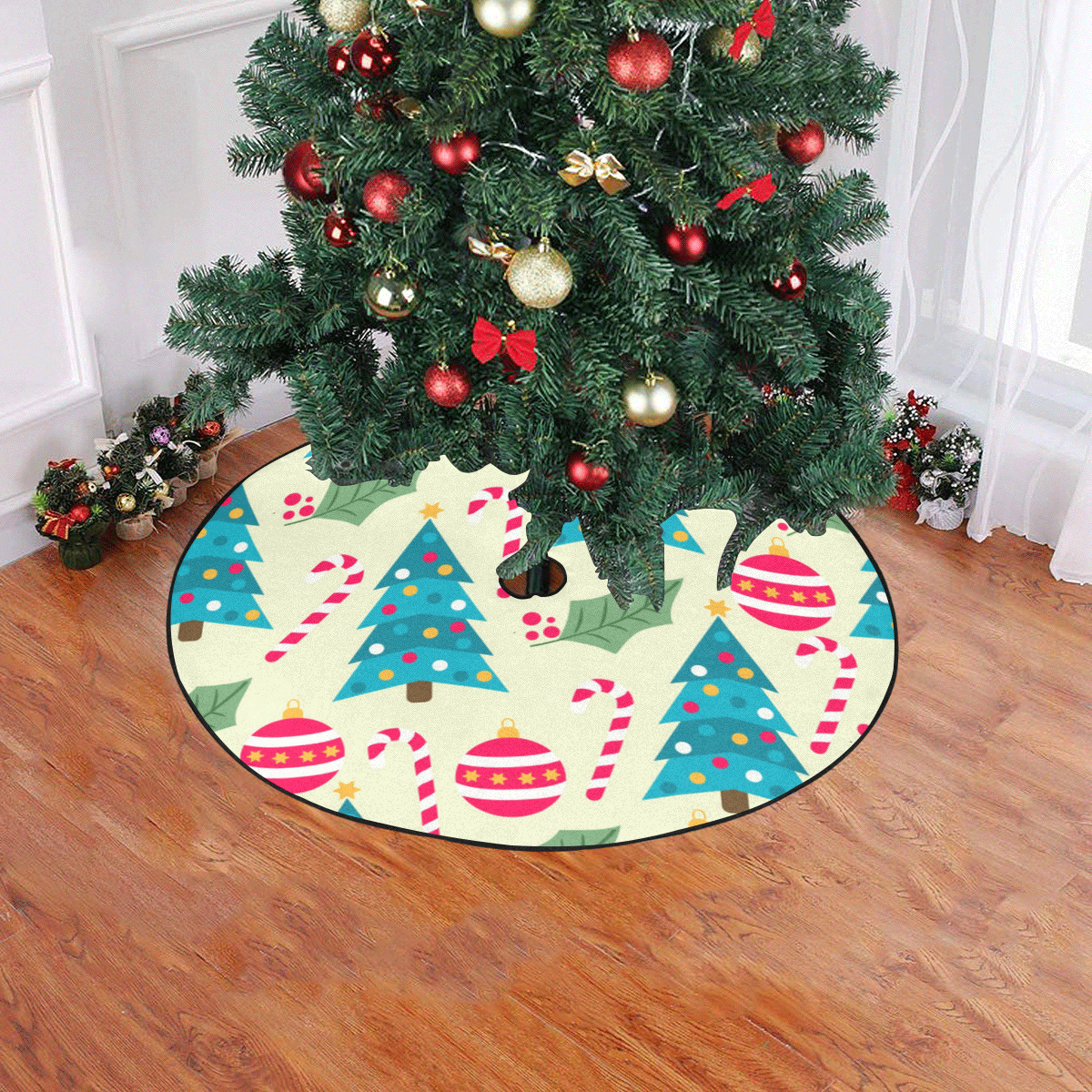 """Trees Mistletoe Candy Canes and Ornaments Christmas Tree Skirt 47"""" x 47"""""""
