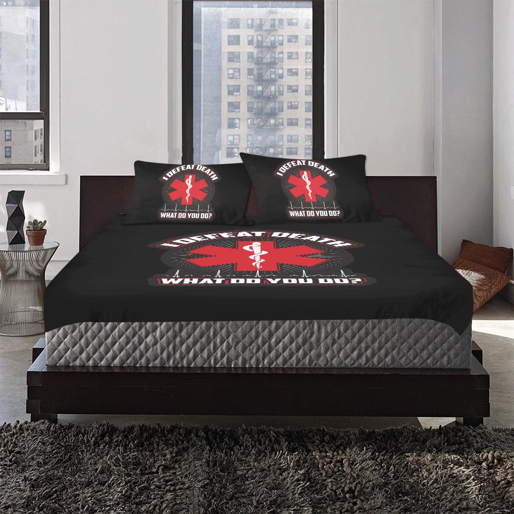 I Defeat Death EMT 3-Piece Bedding Set