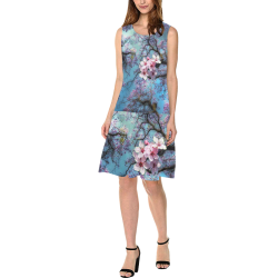 Cherry blossomL Sleeveless Splicing Shift Dress(Model D17)