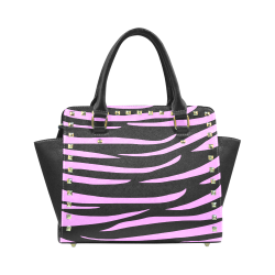 Tiger Stripes Black and Pink Rivet Shoulder Handbag (Model 1645)