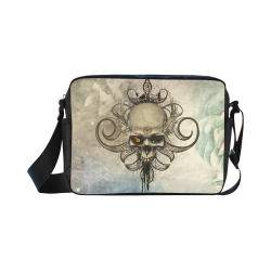 Creepy skull, vintage background Classic Cross-body Nylon Bags (Model 1632)