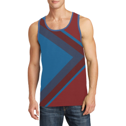 Classic Blue Layers on Burgundy Red Men's All Over Print Tank Top (Model T57)