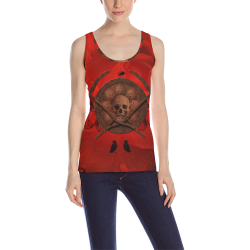 Skulls on red vintage background All Over Print Tank Top for Women (Model T43)