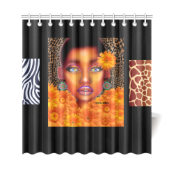 "texture zebraOranngie Shower Curtain 69""x72"""