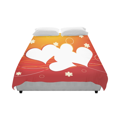 """White Hearts Red to Gold Gradient Duvet Cover 86""""x70"""" ( All-over-print)"""