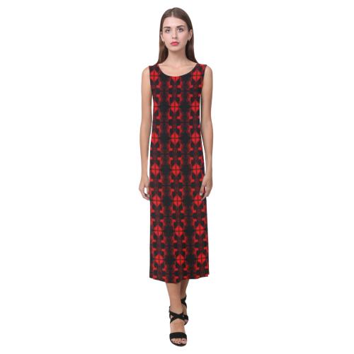 Abstract Flowing  * Red on Black Phaedra Sleeveless Open Fork Long Dress (Model D08)