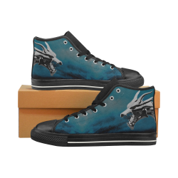 Steel Dragons V1.0 SkyBlue Women's Classic High Top Canvas Shoes (Model 017)