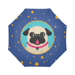 Fawn Pug In Circle Stars Auto-Foldable Umbrella (Model U04)
