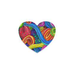 Psychedelic Lines Heart Coaster
