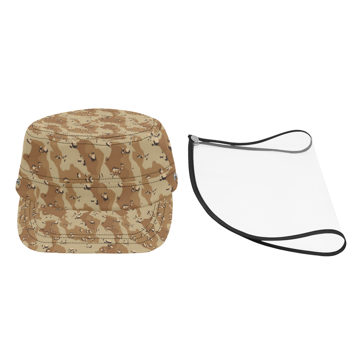 Vintage Desert Brown Camouflage Military Style Cap (Detachable Face Shield)