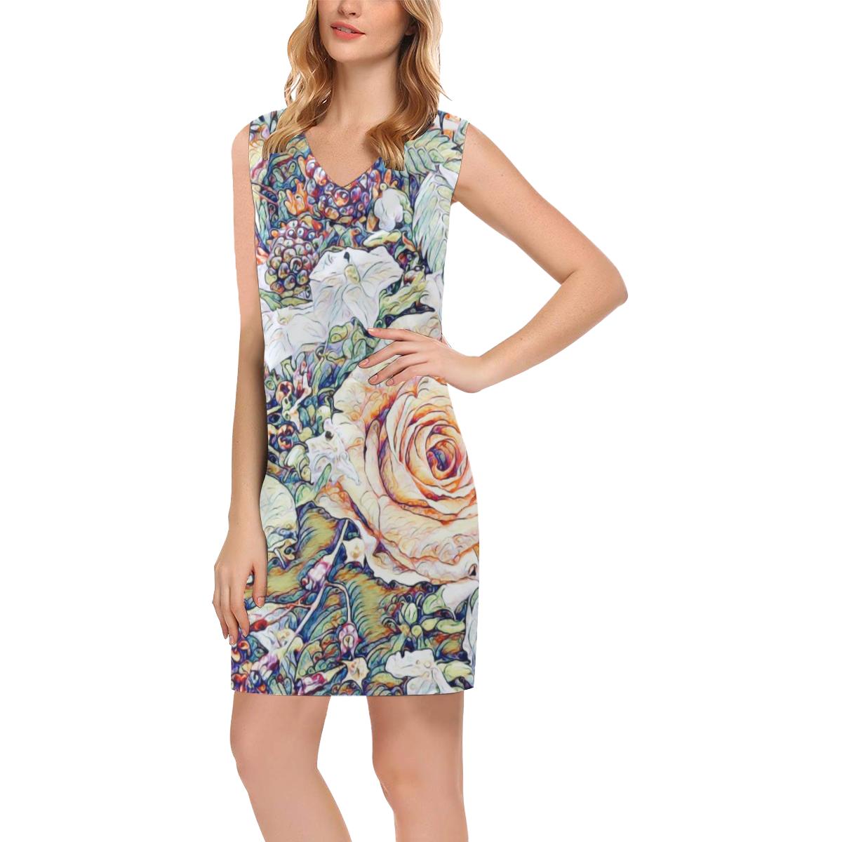 Impression Floral 10191 by JamColors Phoebe Sleeveless V-Neck Dress (Model D09)