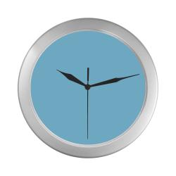 color baby blue Silver Color Wall Clock