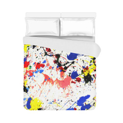 "Blue and Red Paint Splatter Duvet Cover 86""x70"" ( All-over-print)"