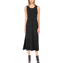 Simply Solid Collection - Black - Phaedra Sleeveless Open Fork Long Dress (Model D08)