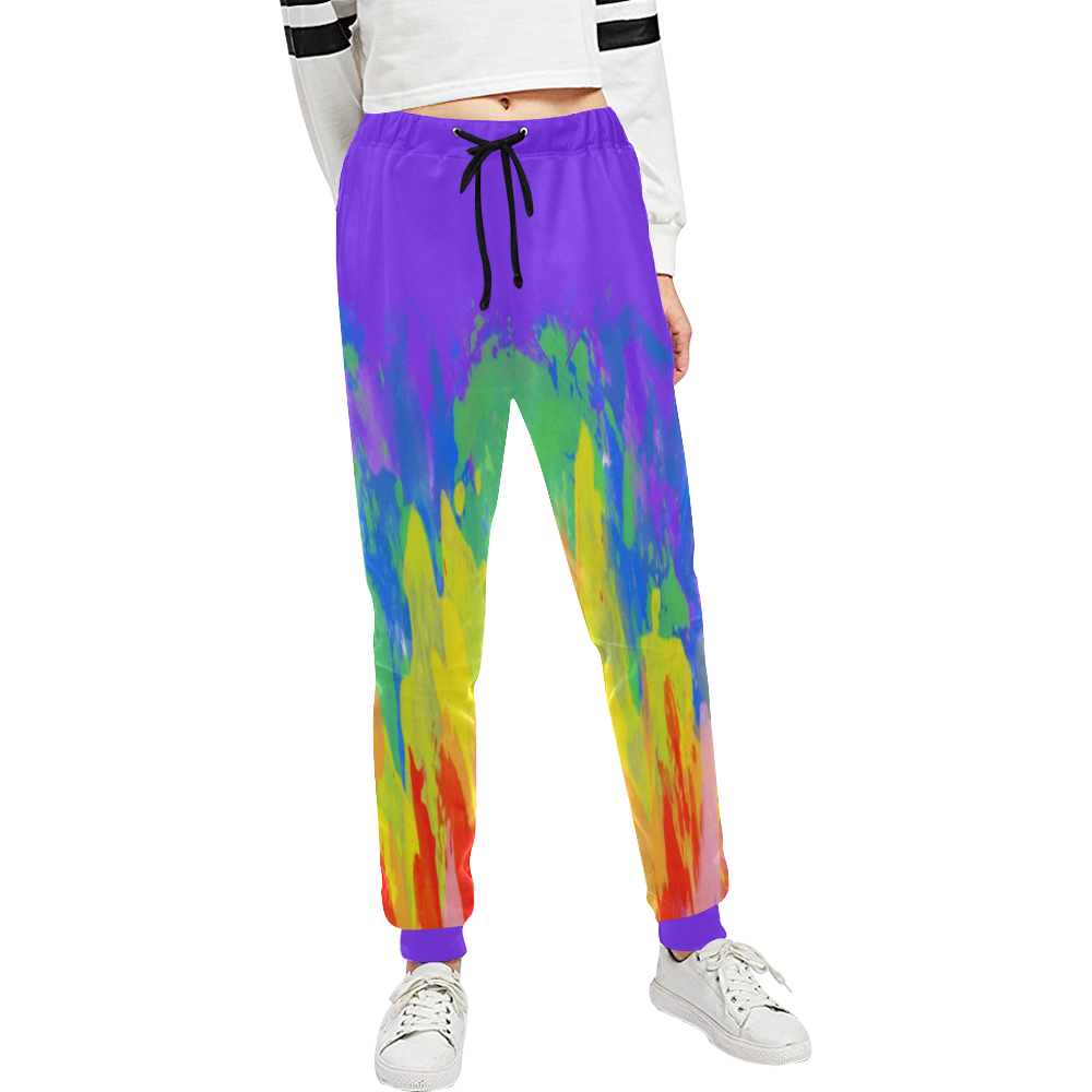 Flames Paint Abstract Purple Unisex All Over Print Sweatpants (Model L11)