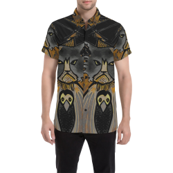 mean cat and crow Men's All Over Print Short Sleeve Shirt (Model T53)