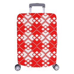 """Abstract geometric pattern - red and white. Luggage Cover/Large 26""""-28"""""""
