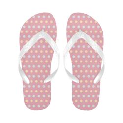 Colorful Dots On Pink Flip Flops for Men/Women (Model 040)