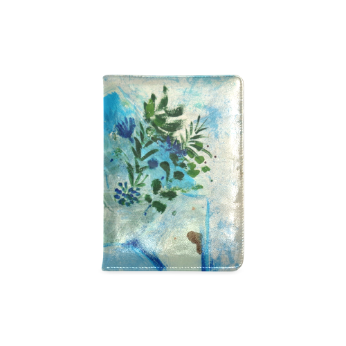 blue flowers floral painting by agnes laczo Custom NoteBook A5