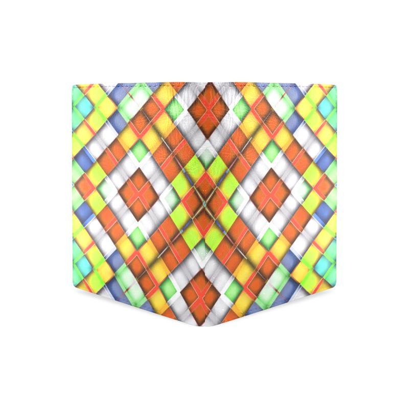 colorful geometric pattern Men's Leather Wallet (Model 1612)