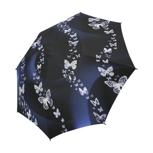 Blue Butterfly Swirl Semi-Automatic Foldable Umbrella (Model U05)