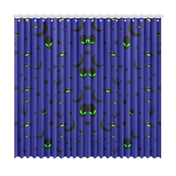 "Alien Flying Saucers Stars Pattern Window Curtain 50""x96""(Two Piece)"