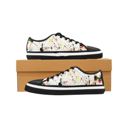Yellow & Black Paint Splatter - Black Women's Canvas Zipper Shoes (Model 001)