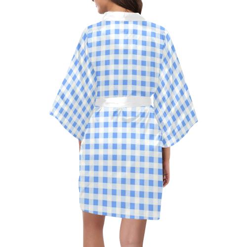 Sky Blue Gingham Kimono Robe