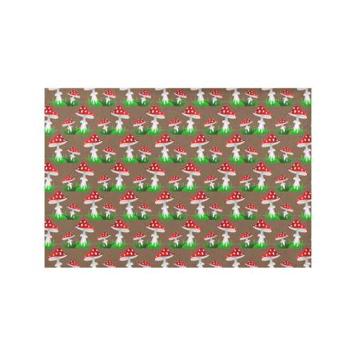 Toadstool red pattern Placemat 12'' x 18'' (Six Pieces)