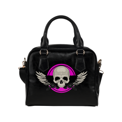 Wing Skull - Pink Shoulder Handbag (Model 1634)