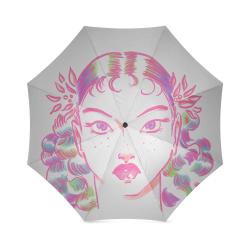 Vintage Girl Pink Foldable Umbrella (Model U01)