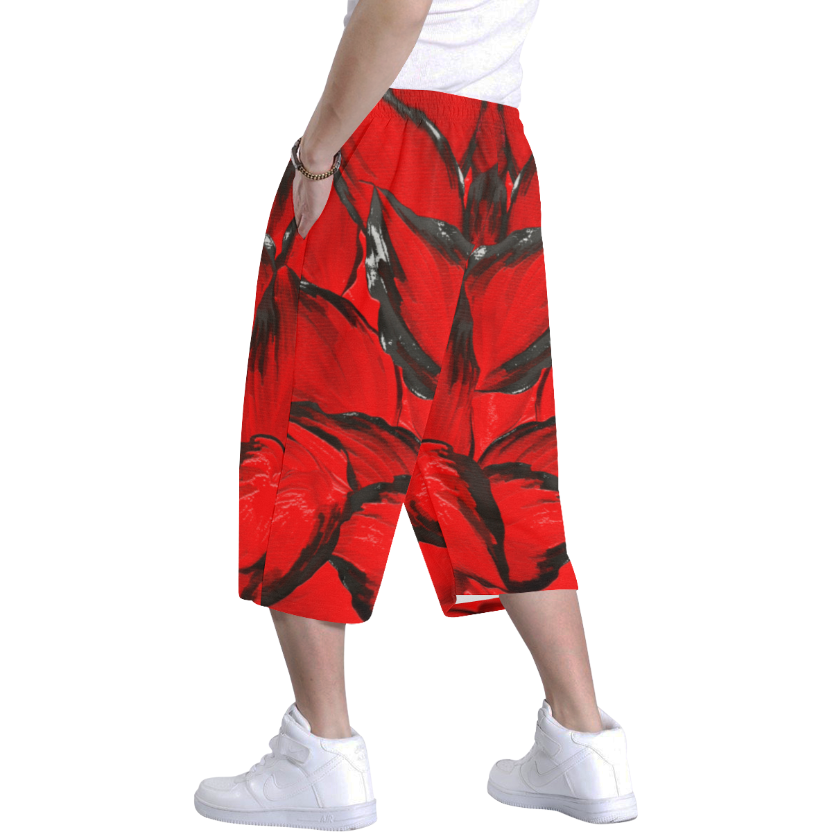 leafs_abstract TRY2 06 Men's All Over Print Baggy Shorts (Model L37)