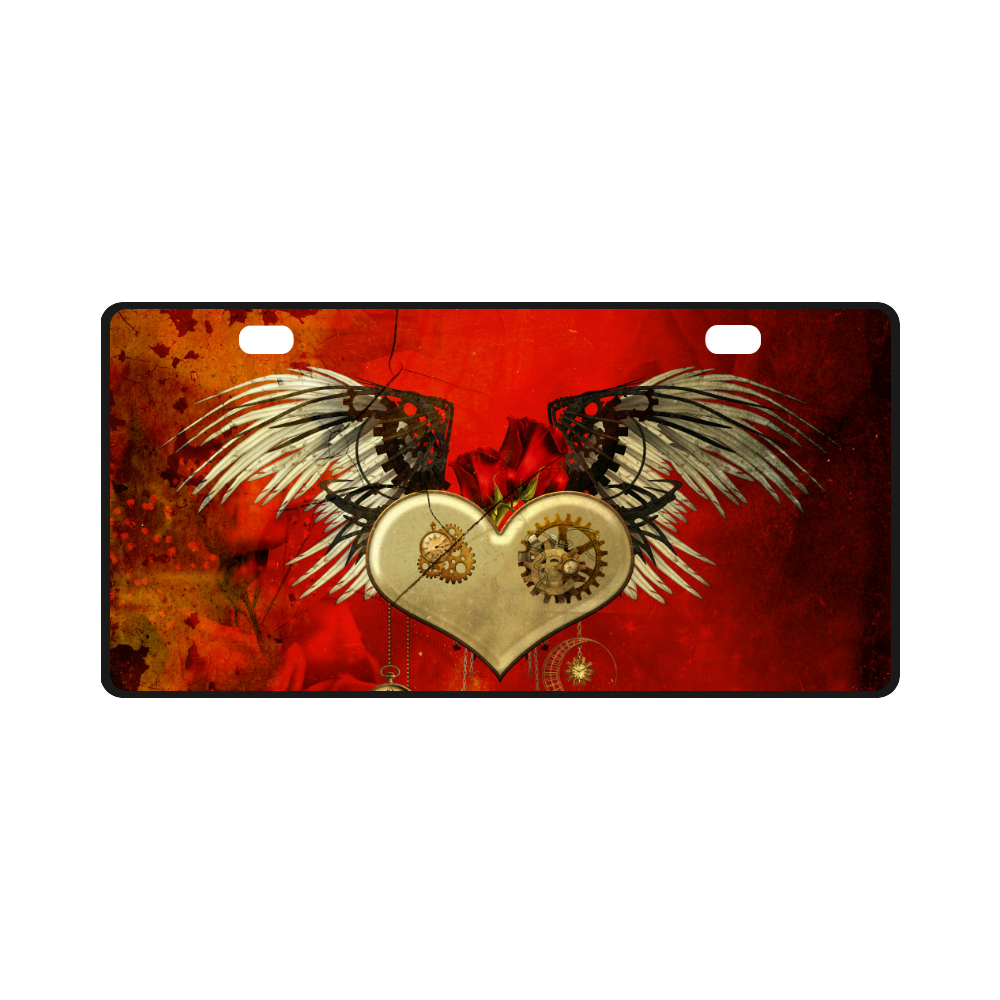 Steampunk heart, clocks and gears License Plate