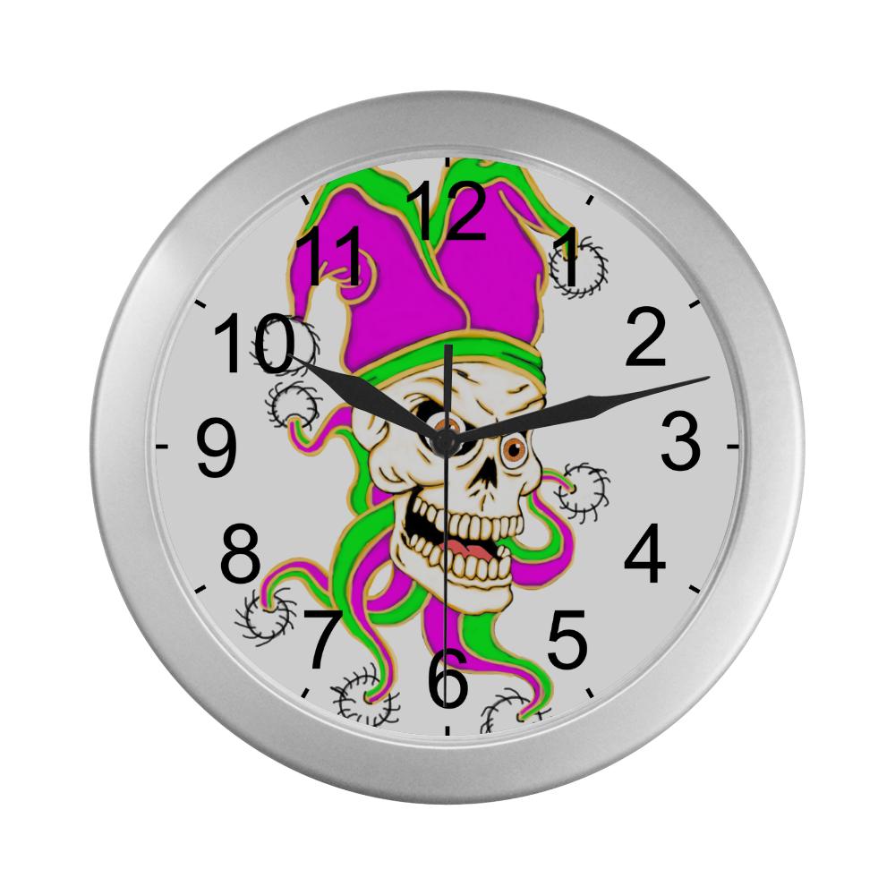Jester Skull Silver Color Wall Clock