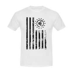American Flag_White Tshirt Men's Slim Fit T-shirt (Model T13)