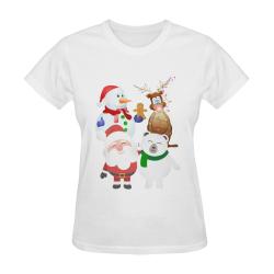 Christmas Gingerbread, Snowman, Santa Claus Sunny Women's T-shirt (Model T05)