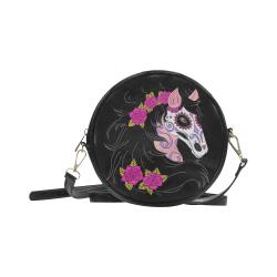 Sugar Skull Horse Pink Roses Round Sling Bag (Model 1647)