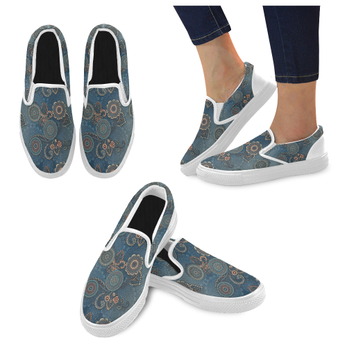 Mandalas Women's Unusual Slip-on Canvas Shoes (Model 019)