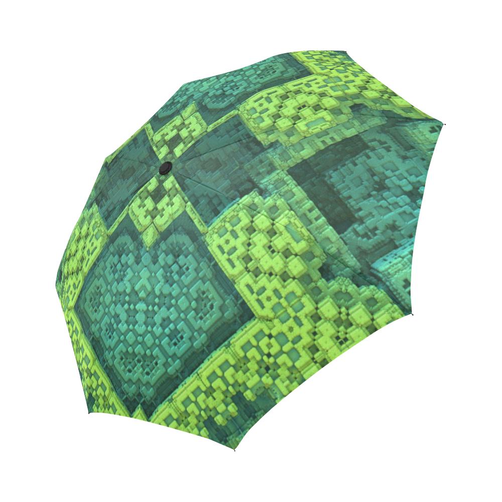 Green Theme 3D Mosaic Auto-Foldable Umbrella (Model U04)