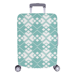 "Abstract geometric pattern - blue and white. Luggage Cover/Large 26""-28"""