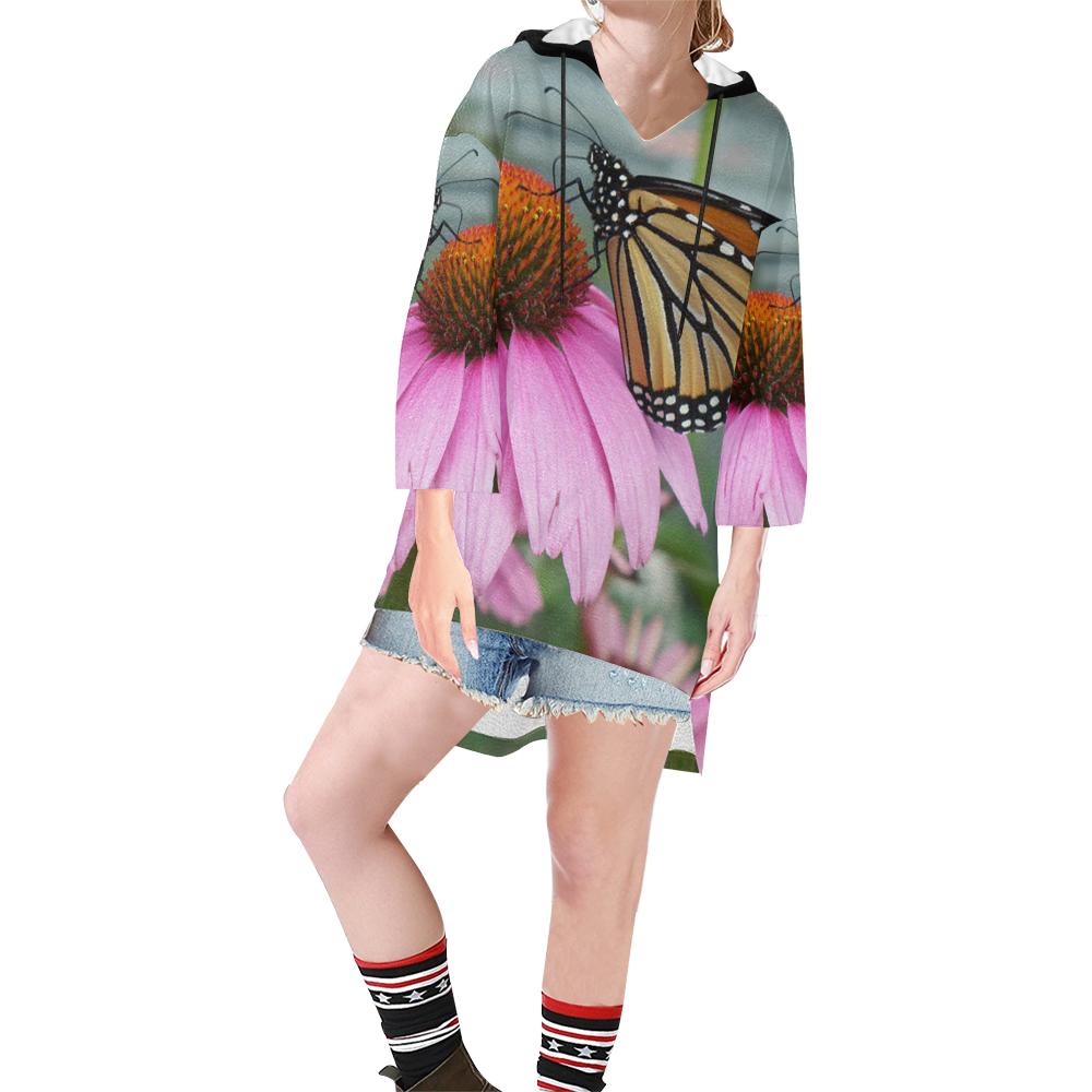 Monarch Butterfly Step Hem Tunic Hoodie for Women (Model H25)