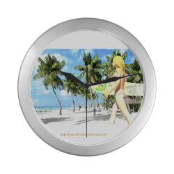 Aloha 1 Silver Color Wall Clock