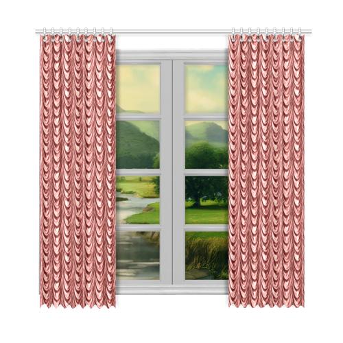 "Burgundy fold waves Window Curtain 52""x108""(Two Piece)"
