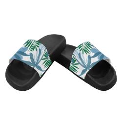 Tropical Floral - blue Women's Slide Sandals (Model 057)
