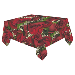 "Carmine Roses Cotton Linen Tablecloth 52""x 70"""