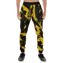 Black and Yellow Paint Splatter Men's All Over Print Sweatpants (Model L11)