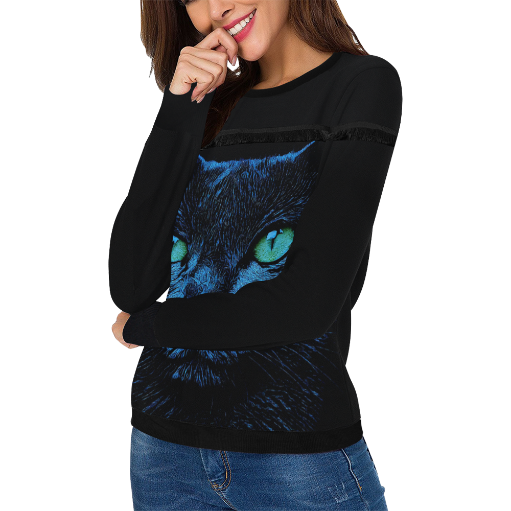 BLUE CAT LOVER LADYLIKE Women's Fringe Detail Sweatshirt (Model H28)