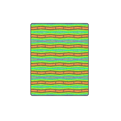 "Bright Green Orange Stripes Pattern Abstract Blanket 40""x50"""
