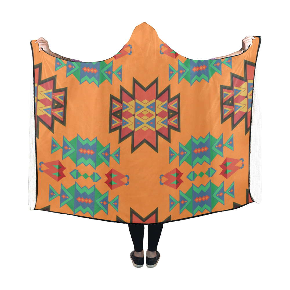 Misc shapes on an orange background Hooded Blanket 60''x50''
